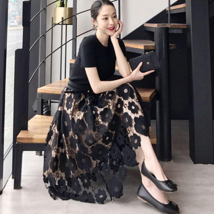 2020年春款夏很仙的法国小众a字一片式中长款网纱蕾丝半身裙子女