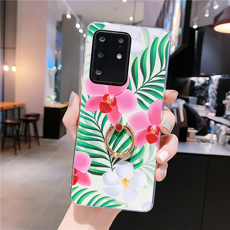 flower banana leaf holder mobile phone case for Samsung S20 S9plus all-inclusive soft shell wholesale nihaojewelry NHFI237423