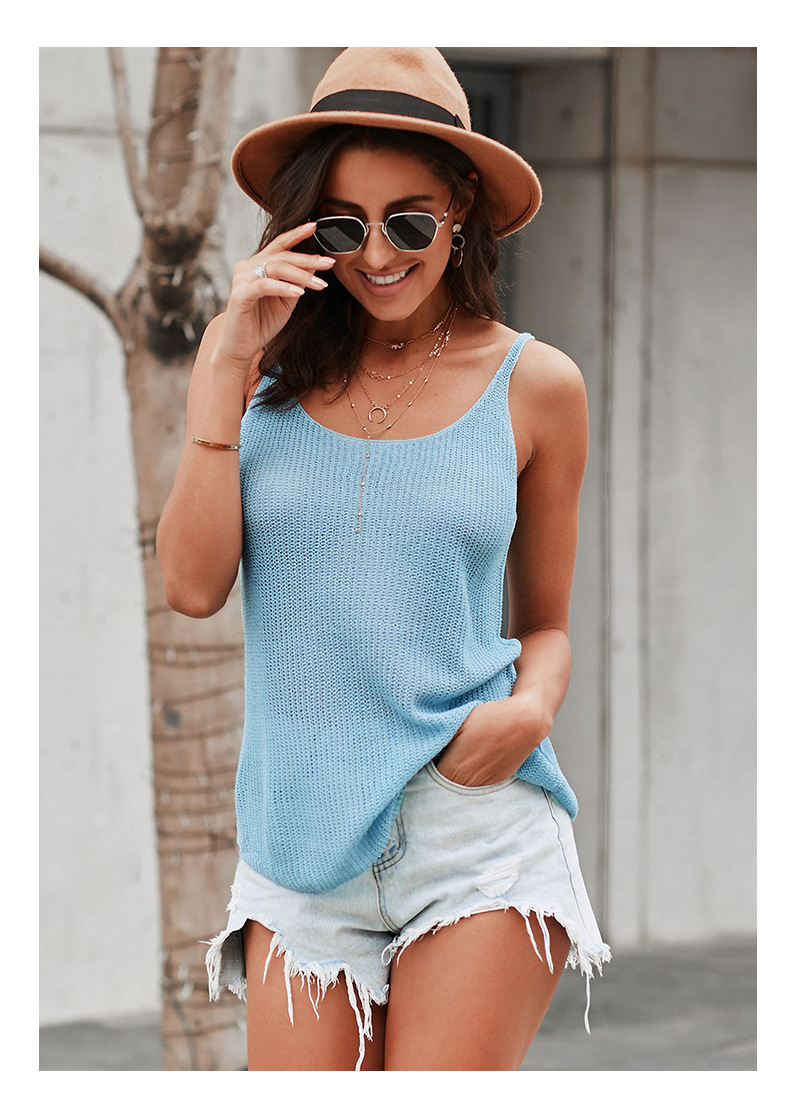 knitted camisole hit color summer new casual round neck thin shoulder strap top NSSI2561