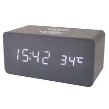 创意木头钟led闹钟手机无线充电床头静音木质声控闹钟电子闹钟