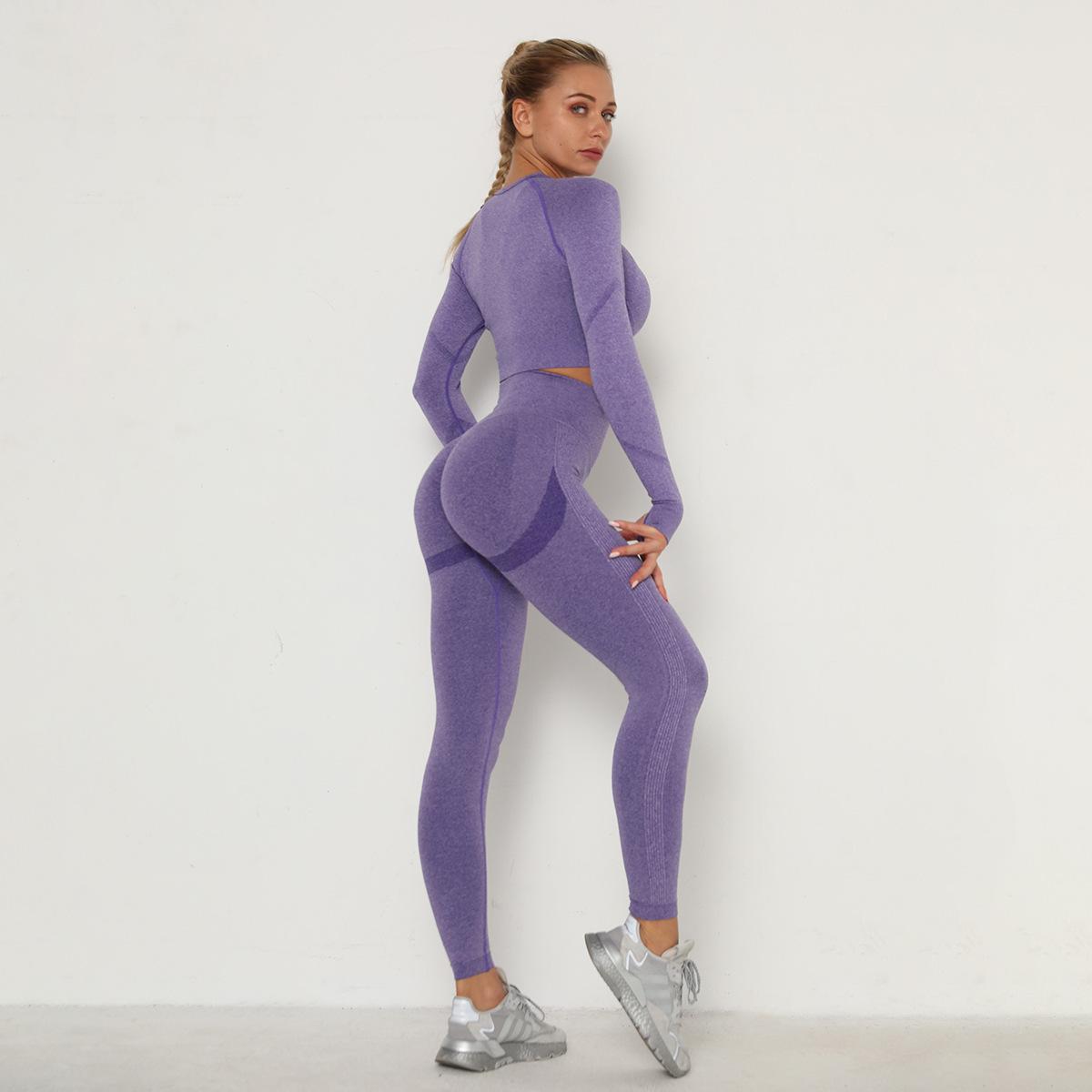 seamless fold high waist slim tight long sleeve yoga suit NSLX8985