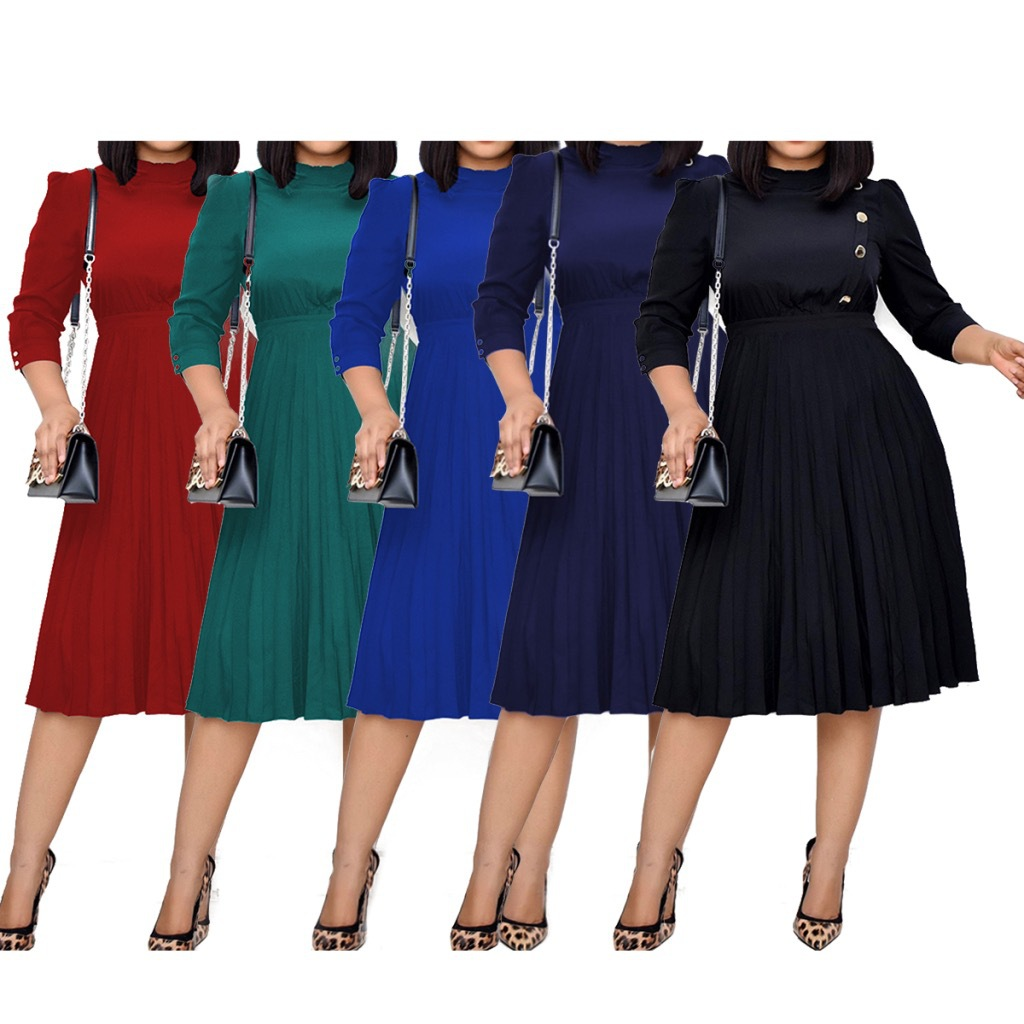 Amazon's hot African women's Wooden ear solid size 7 / 4 sleeve pleated skirt dress dr062 available