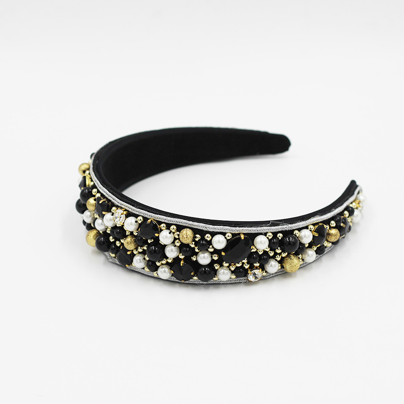 New fashion diamond colored beaded gold silk headband NHWJ292494
