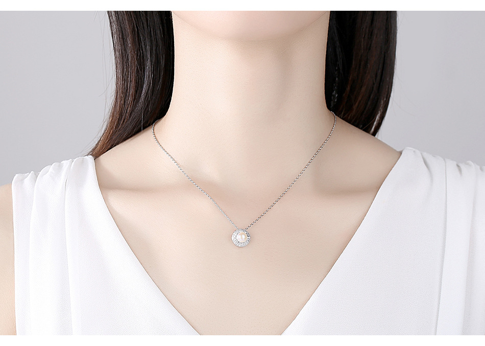 fashion pearl pendant necklace  zircon womens clavicle necklace NHTM253208