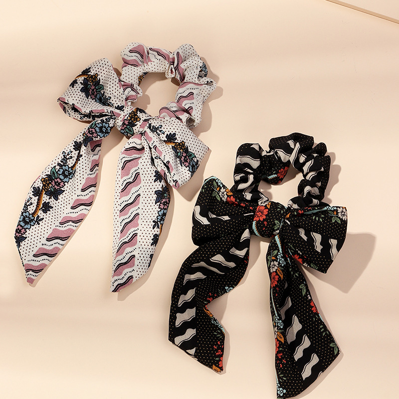Fashion new bow hair ring ponytail hair ornaments knotted ribbon head ring fabric double-layer printing headdress NHAU240817