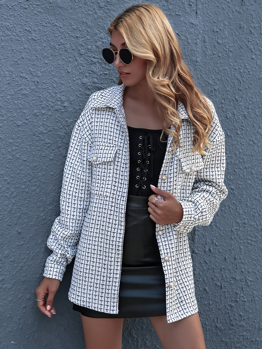 hot sale autumn and winter loose wild lapel small plaid shirt NSAL1931