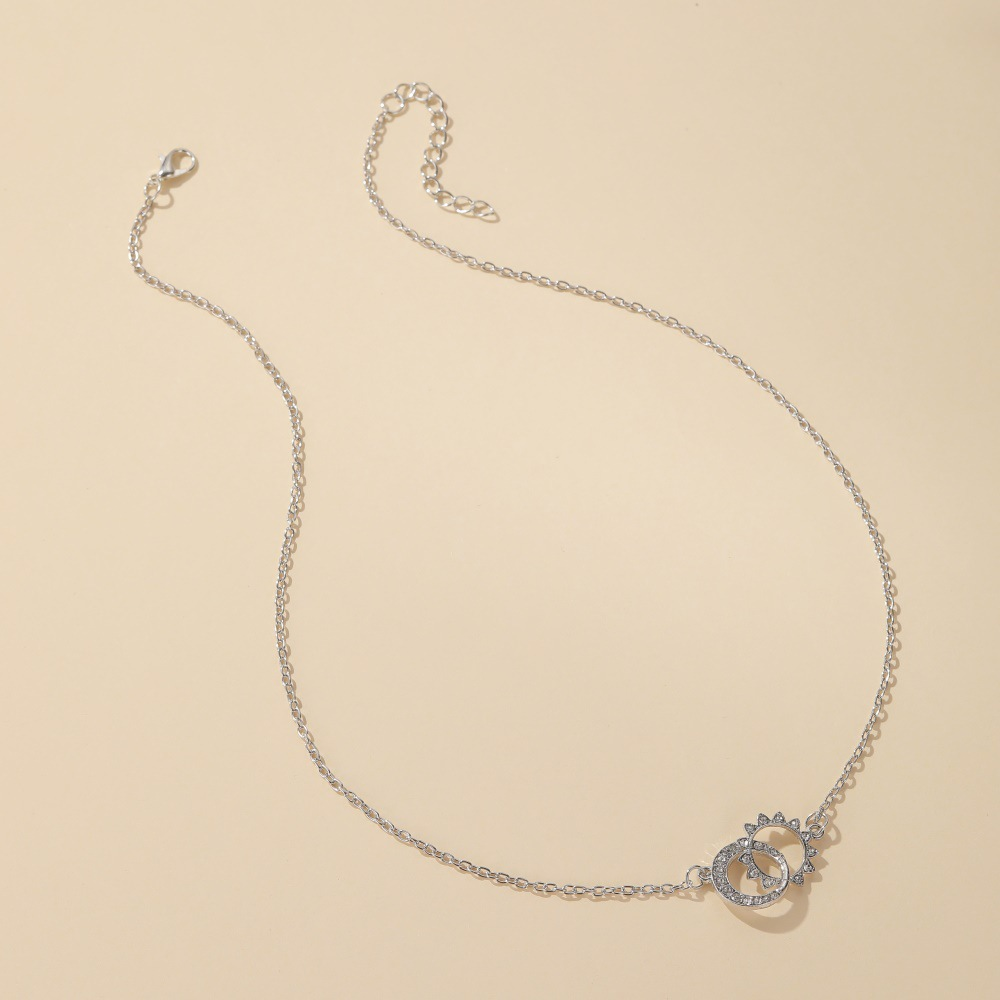 new sun moon diamond double ring alloy necklace clavicle chain for women NHCU248269