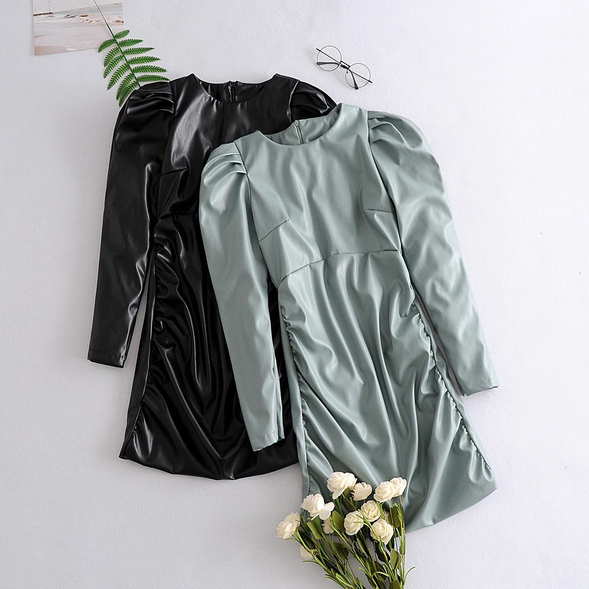 summer double-layer imitation leather long-sleeved dress wholesale nihaojewelry NHAM225835