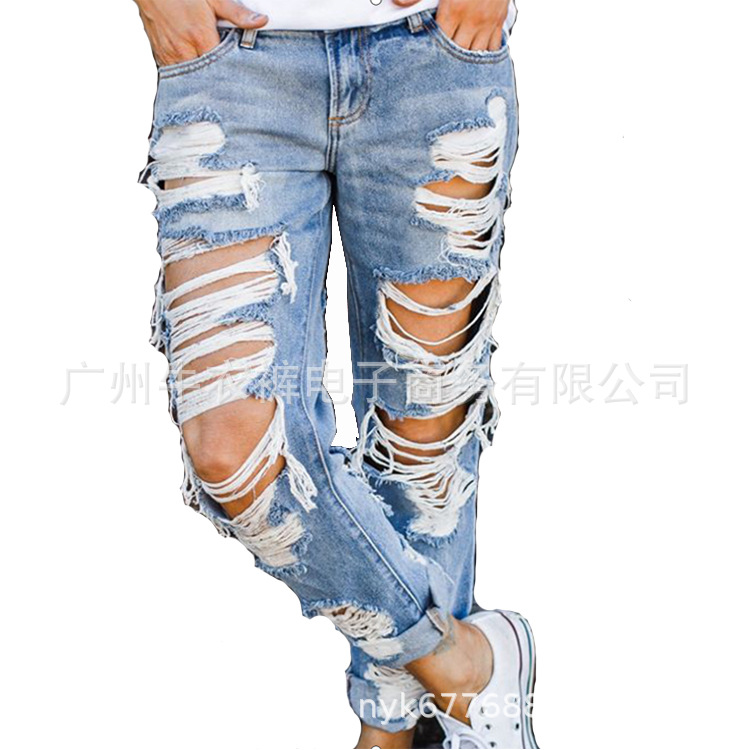 New Hot Sale Ladies Ripped Jeans Trousers