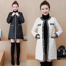 小香风外套女2020冬季欧洲站新款韩版编织菱形格轻薄中长款棉服