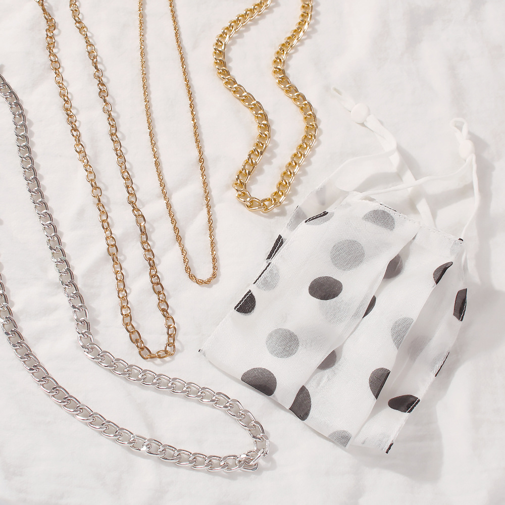 fashion geometric thick chain alloy necklace NHMD367502