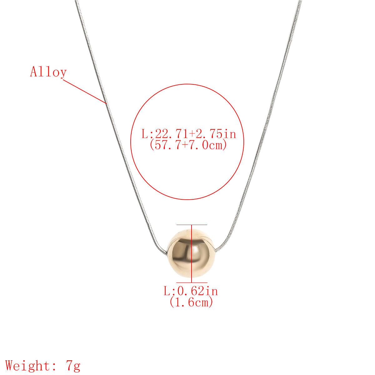 Fashion round ball pendant alloy hip hop women's necklace  NHJE252613
