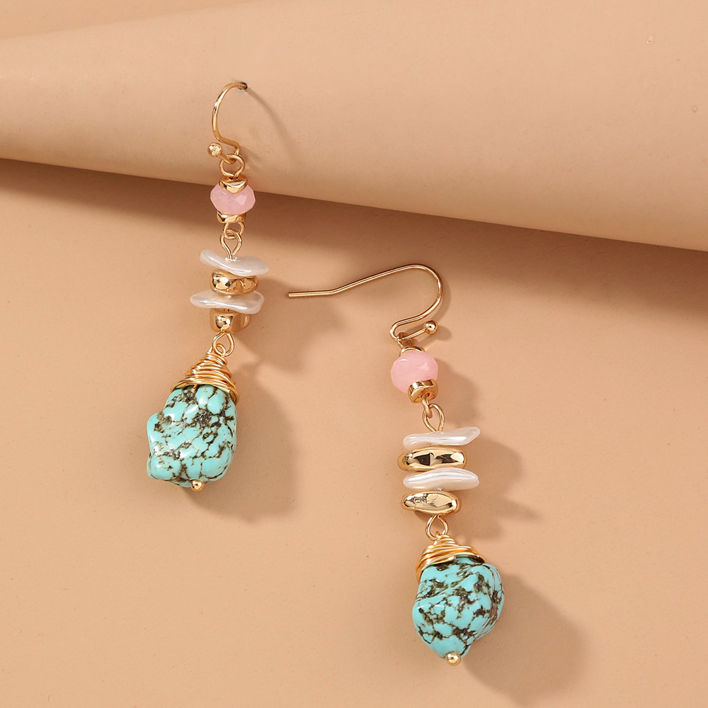 Nihaojewelry wholesale jewelry new style natural stone pendent pearl alloy earrings NHDB387526