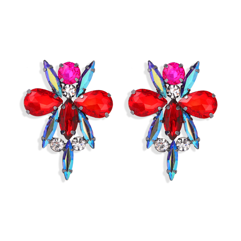 fashion  new color diamond dragonfly modeling exaggerated full diamond insect creative fashion earrings wholesale nihaojewelry  NHJQ218865