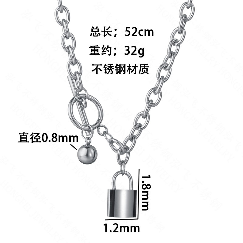 Korea popular hiphop punk style small lock necklace titanium steel ball buckle lock necklace wholesale nihaojewelry NHHF229580