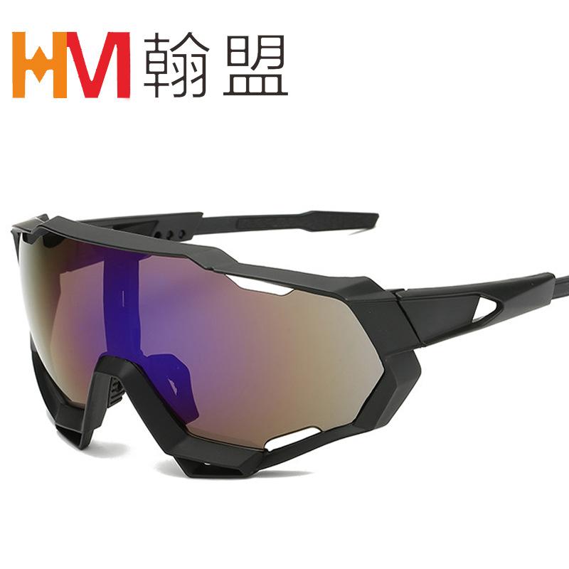 新款骑行眼镜 户外运动太阳镜 大框连体镜面墨镜 镜腿可调整9312