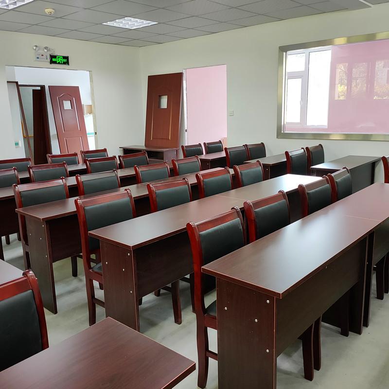 会议室会议桌椅组合1.2米双人油漆木皮培训桌子小型办公长形条桌