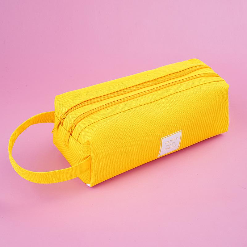2538 الإبداعية بسيطة الطازجة الطازجة سعة كبيرة حقيبة القلم قماش مزدوج متعدد الوظائف بلون قلم رصاص مربع القرطاسية حقيبة الطالب