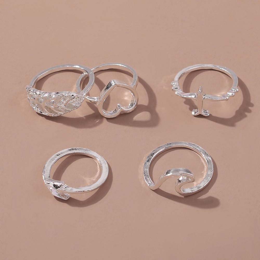 new leaf crescent joint ring set 5 piece set creative retro irregular ring wholesale nihaojewerly NHMD243084