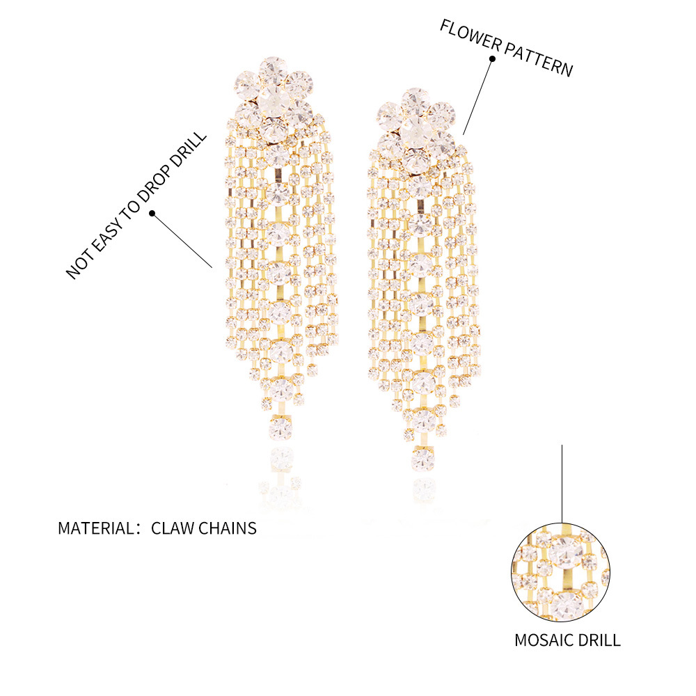 Fashion claw chain earrings long full diamond fringe earrings bridal jewelry women NHMD204440