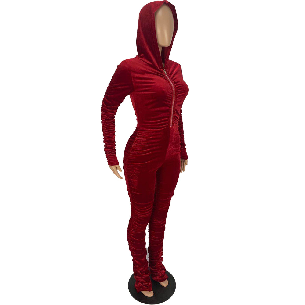 Women Hooded Long Sleeve Zipper Draped Solid Color Velvet Fall/&Winter Outfits