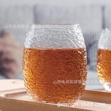 日式锤纹水杯耐热玻璃创意手工玻璃杯泡茶杯办公家用个人水杯子