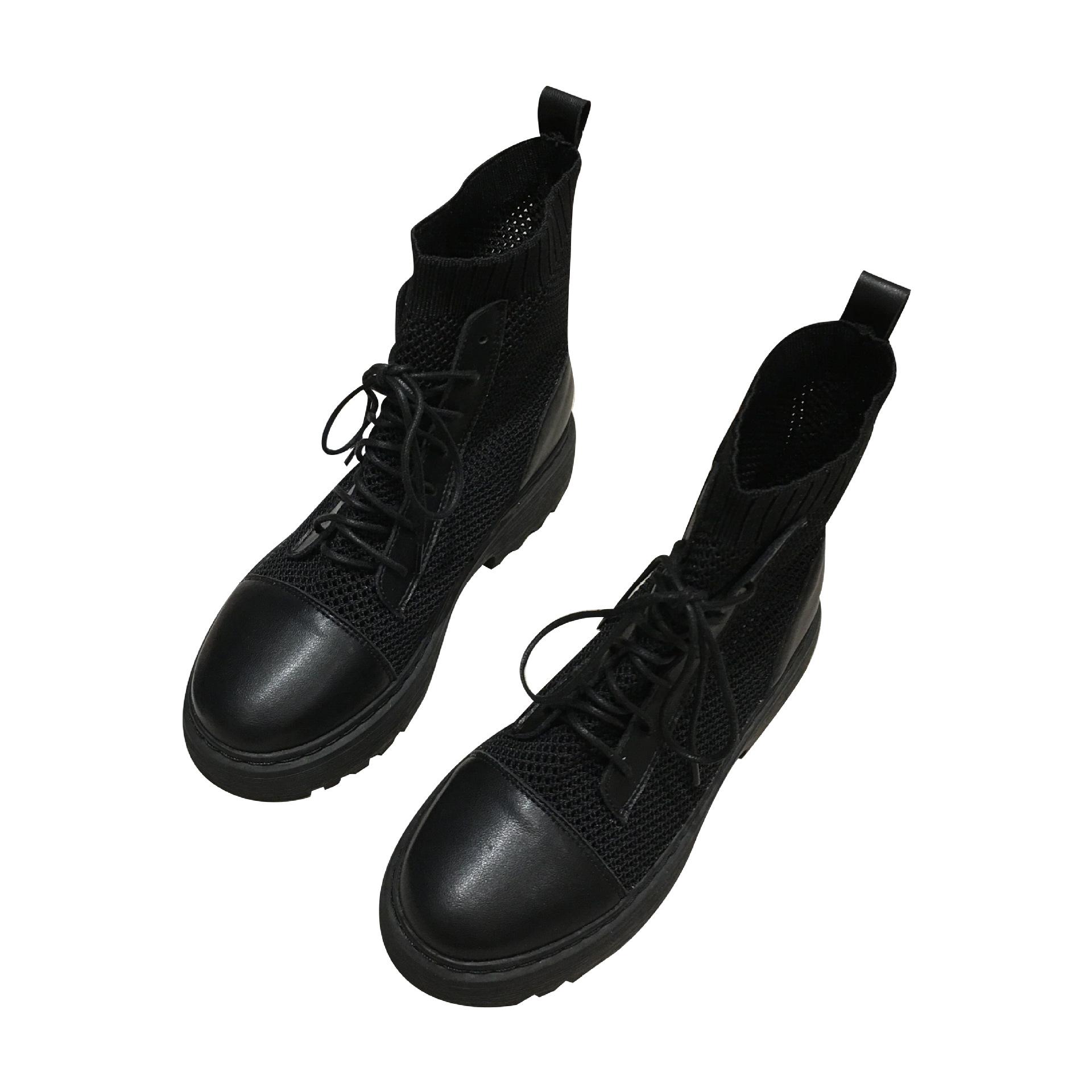 MSCS545短靴夏天百搭马丁靴女夏季薄款透气真皮网纱镂空靴女靴子