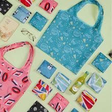 大容量折叠购物袋印花收纳袋买菜纯色手提袋超市购物袋定制批发