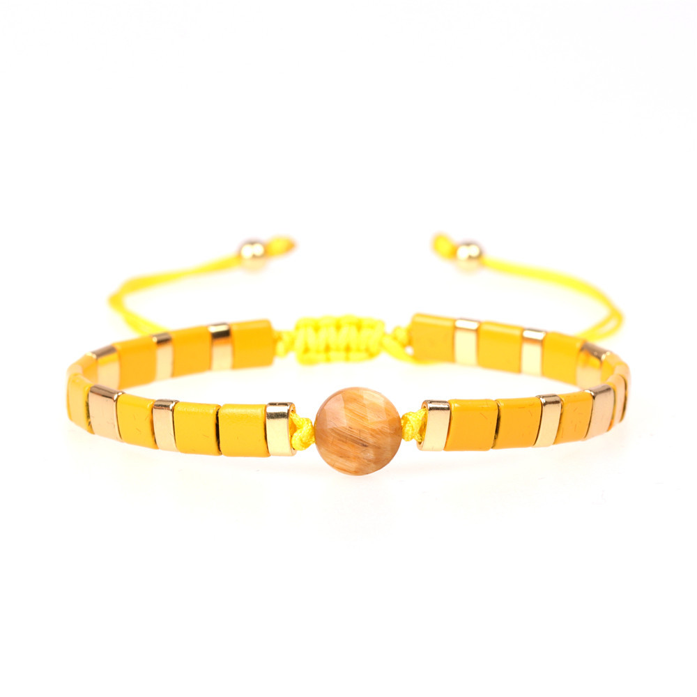 Popular new semi-precious stone woven bracelet fashion paint contrast color hand-woven bracelet NHPY201002