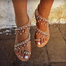 外贸大码平底凉鞋女2020夏季休闲沙滩珍珠套脚网红夹趾平跟凉拖鞋
