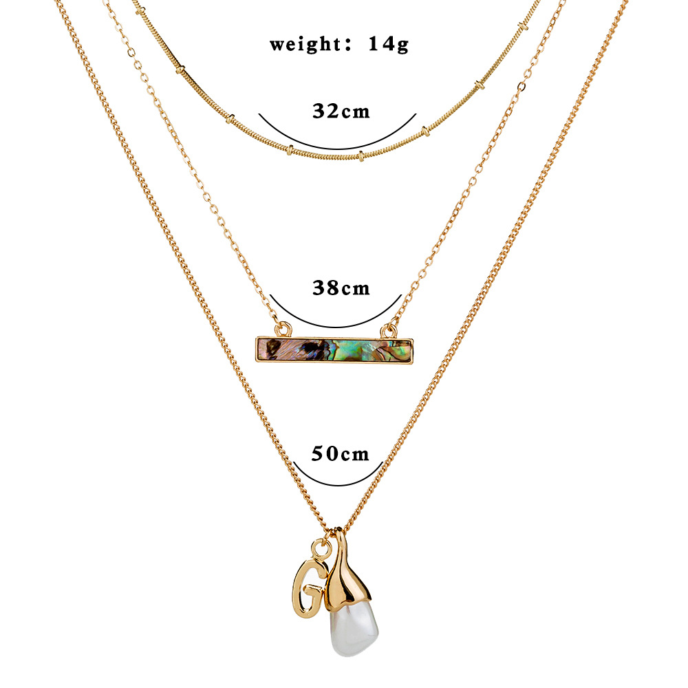 hot-selling fashion design natural abalone shell pendant choker multi-layer necklace jewelry wholesale NHAN243158
