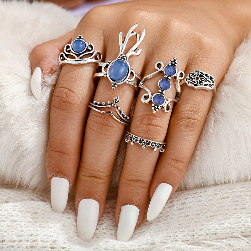 New ring simple deer head palm ring 11 pieces combination set joint ring women NHGY201875