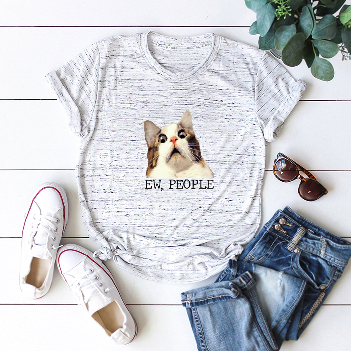 comfortable casual cat pure cotton short-sleeved T-shirt NSSN1457