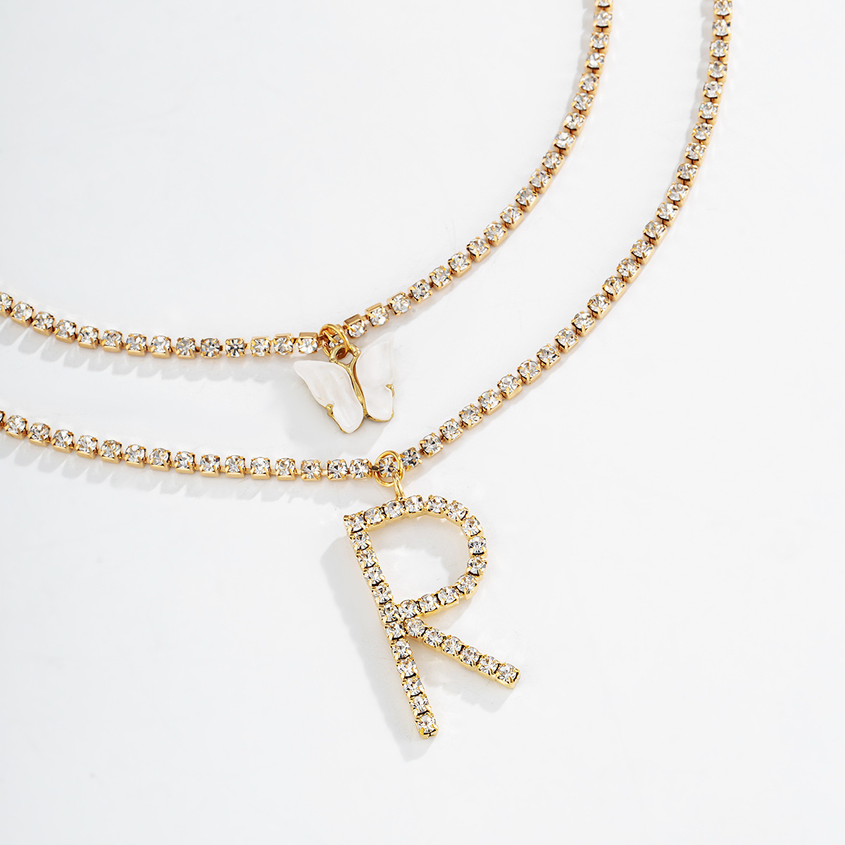 Fashion Gold Color Claw Chain Diamond Butterfly Letter Pendant Necklace