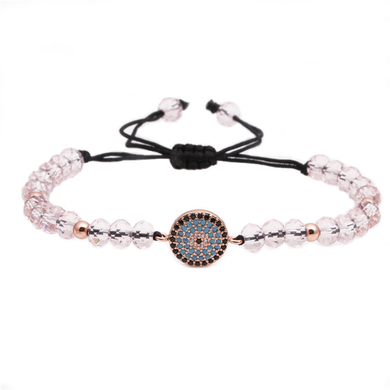 Micro Inlaid Zircon Eye Bracelet Faceted Crystal Woven Adjustable Bracelet wholesales yiwu suppliers china NHYL202955