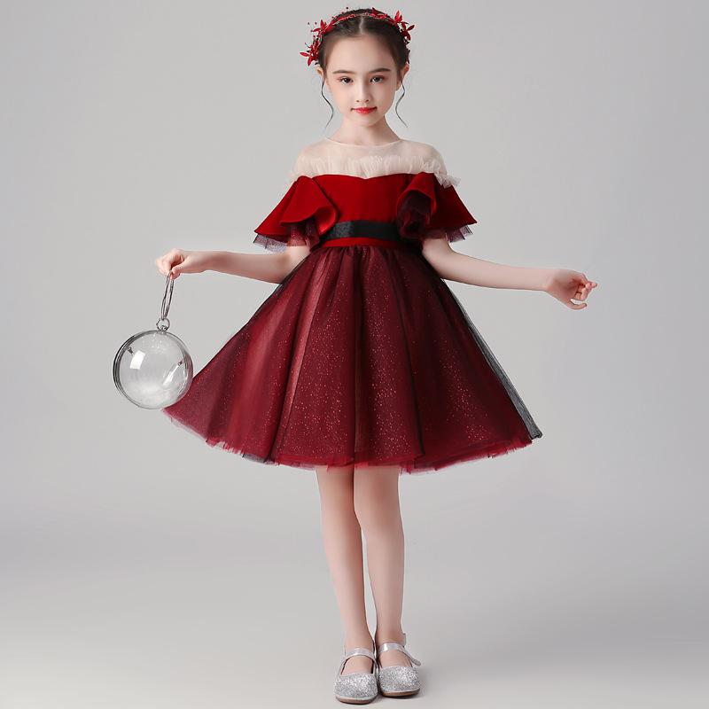 2020新款女童礼服公主裙洋气酒红色儿童小主持人钢琴演出服短款夏