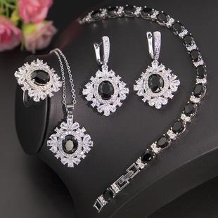 New zircon jewelry wholesale European and American cross-border models European and American atmosphere diamond snowflake necklace earrings set