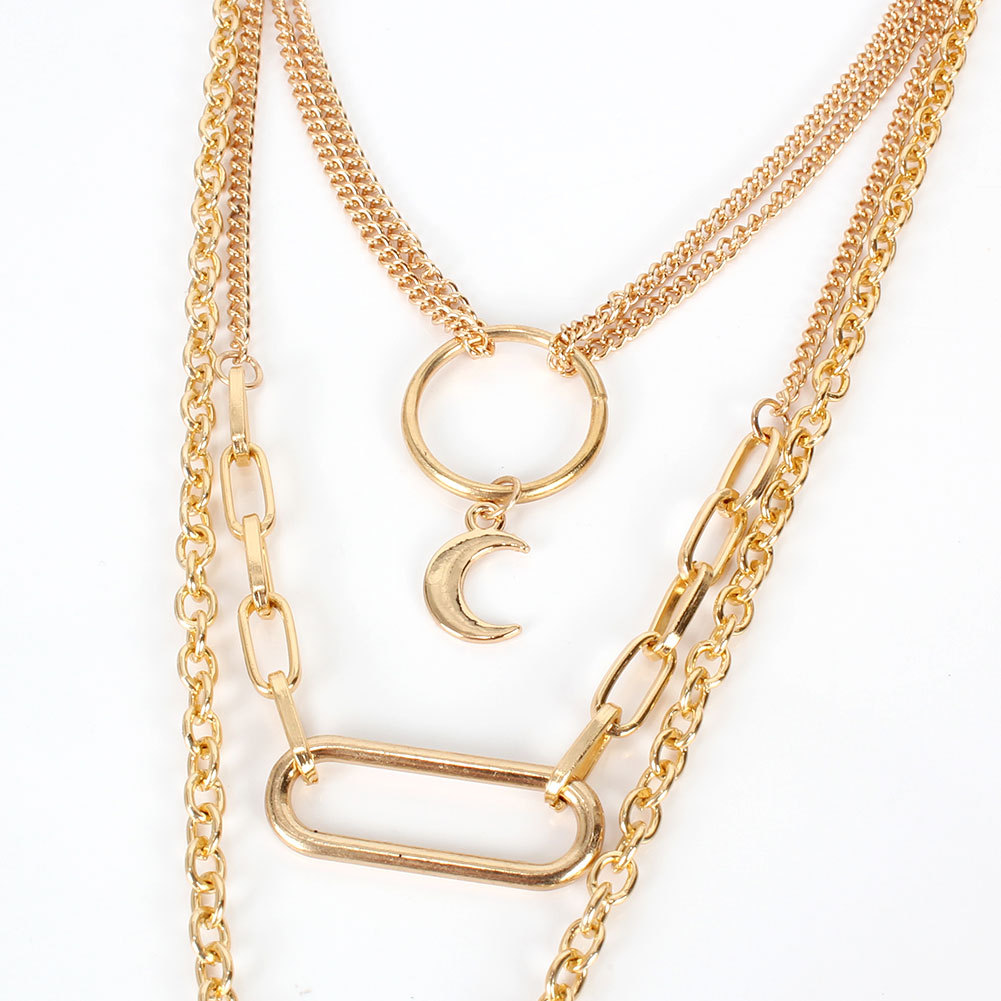 metal necklace simple fashion wild multilayer metal pendant necklace wholesale nihaojewelry NHCT232284