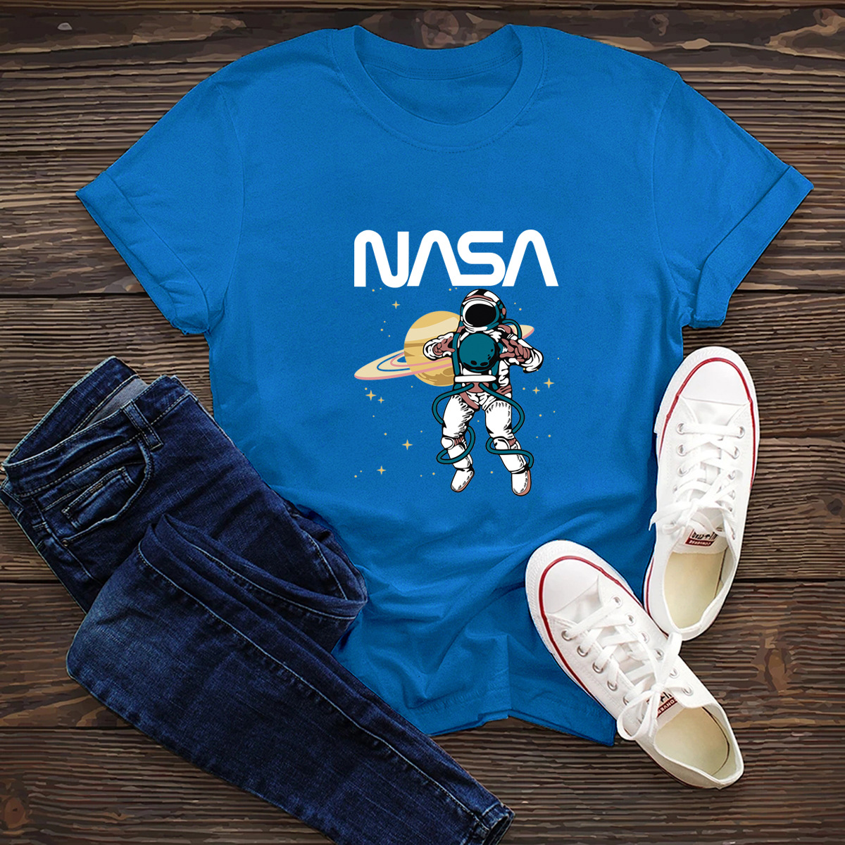 comfortable short-sleeved T-shirt dark nasa space series NSSN1448