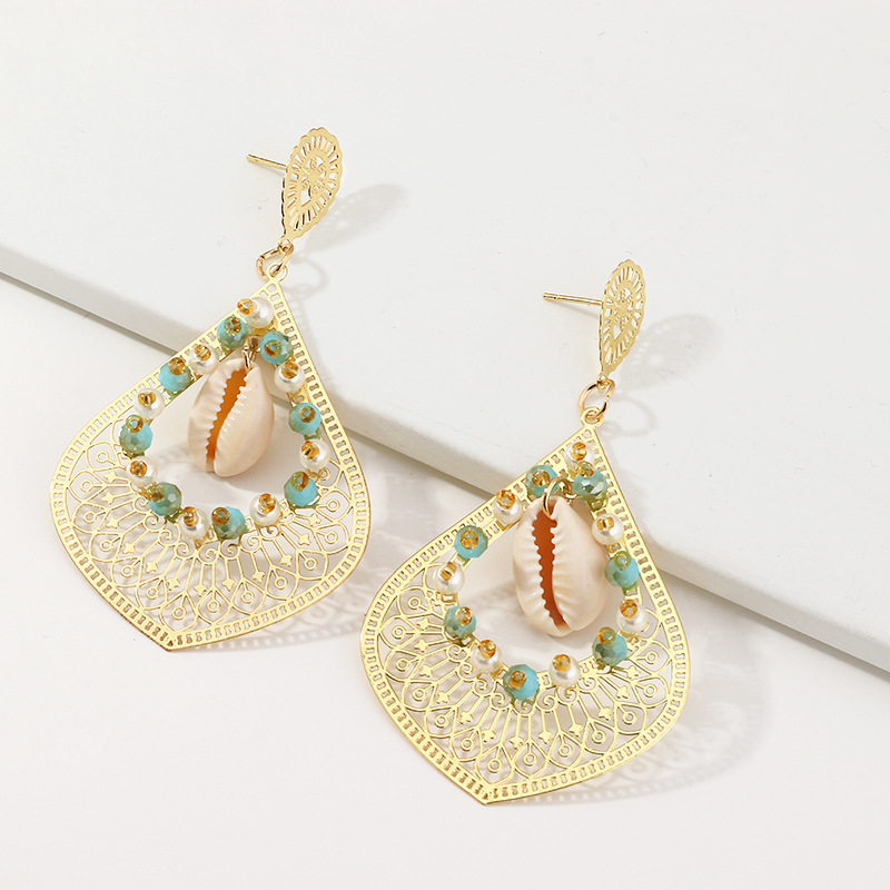 Retro Exaggerated Hollow Pattern Earrings Fashion Rice Bead Shell Ear Studs Long NHNZ201891