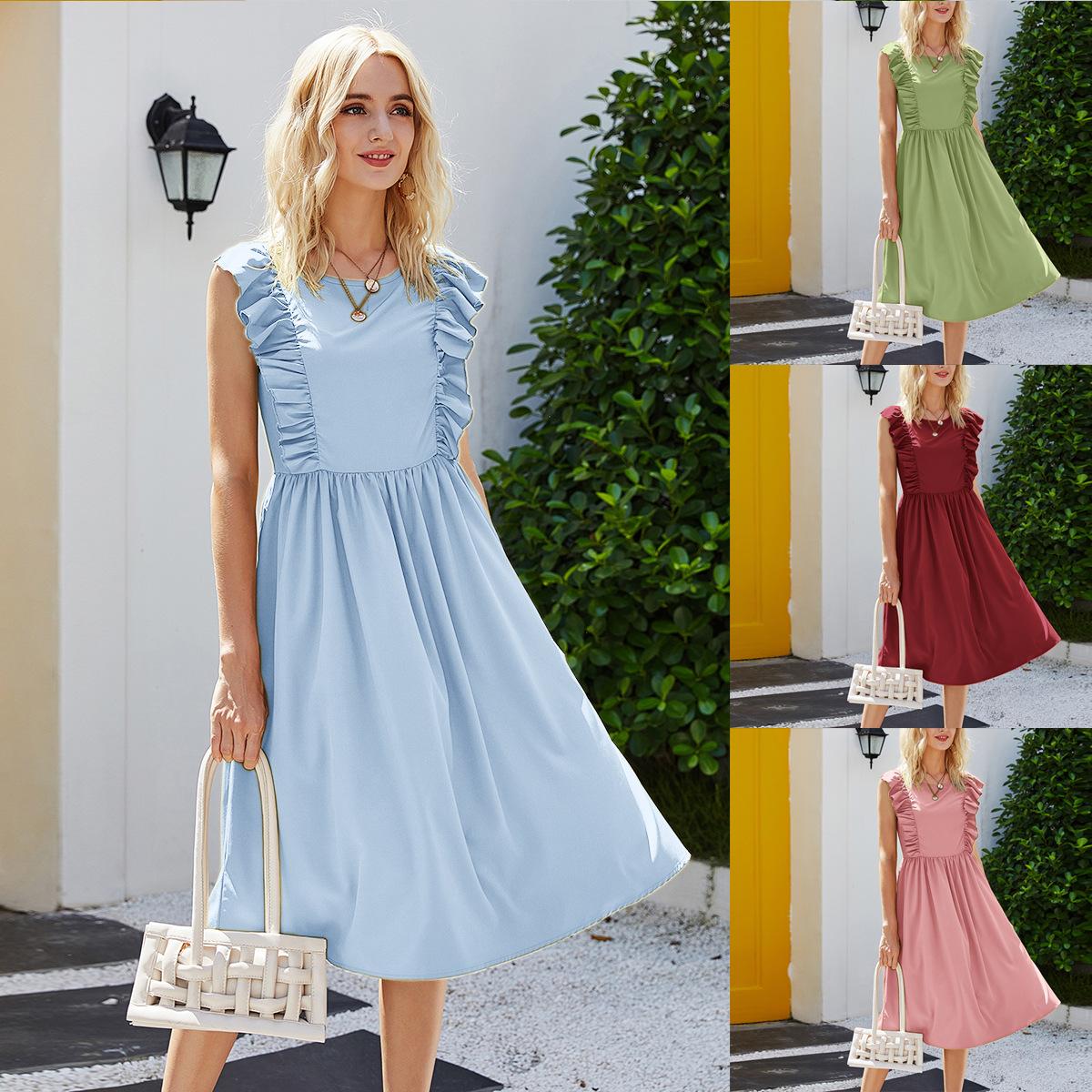 欧美跨境夏季女装复古连衣裙荷叶边无袖沙滩外贸连衣裙