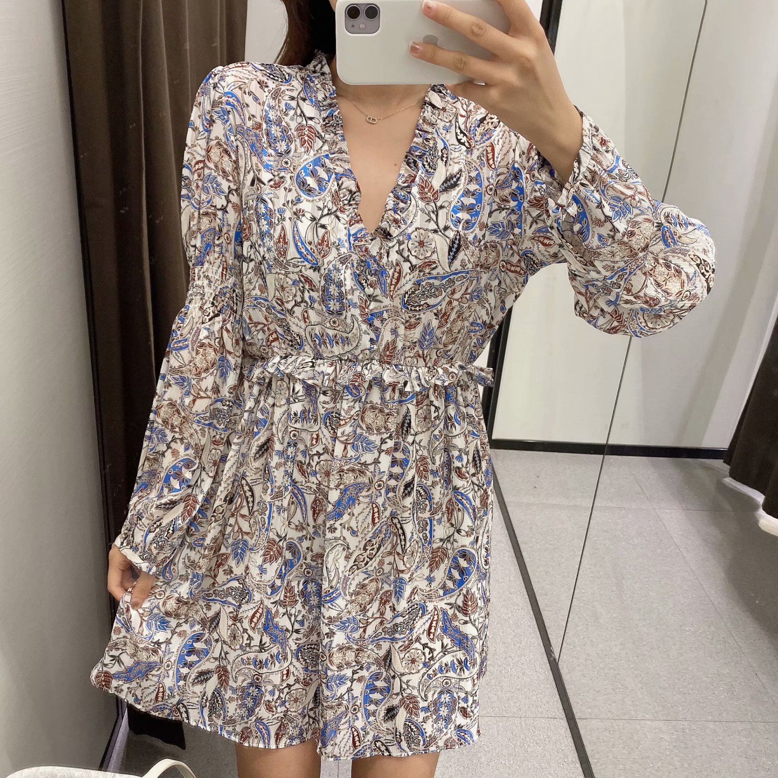 women's print V-neck dress  NSAM3567
