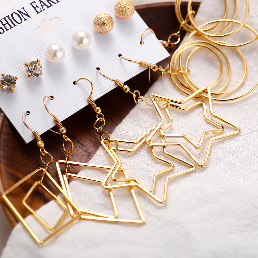 hot sale earring set 6 pairs of creative simple pearl five-pointed star circle multi-element earrings wholesale nihaojewelry NHYI220225