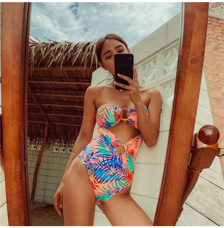 sexy hollow back cover belly printing one-piece swimsuit   NSHL4000