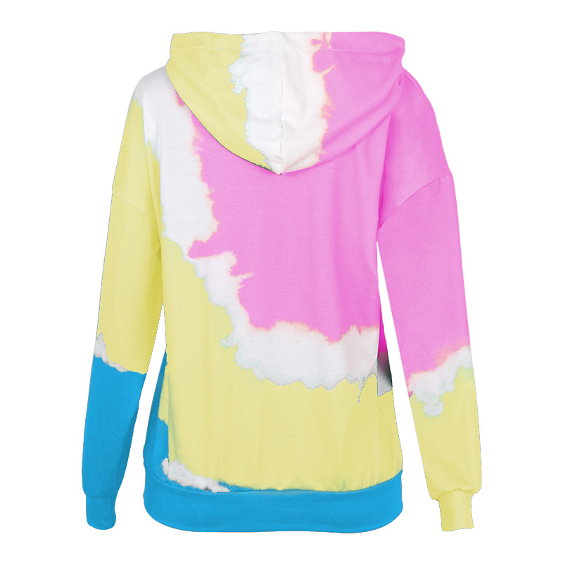 printing contrast color loose casual sports long-sleeved hooded sweater  NSKX5918