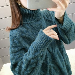 Japanese lazy wind autumn and winter new solid color two-lapel twist striped pullover sweater turtleneck sweater base