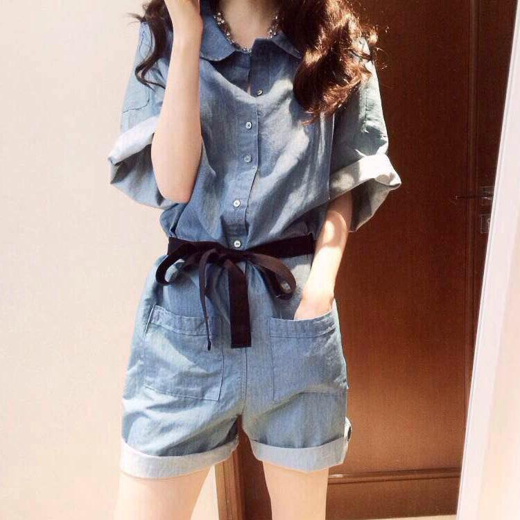 连体衣服女装夏季韩版学生牛仔连衣短裤裙宽松显瘦连身阔腿裤套装