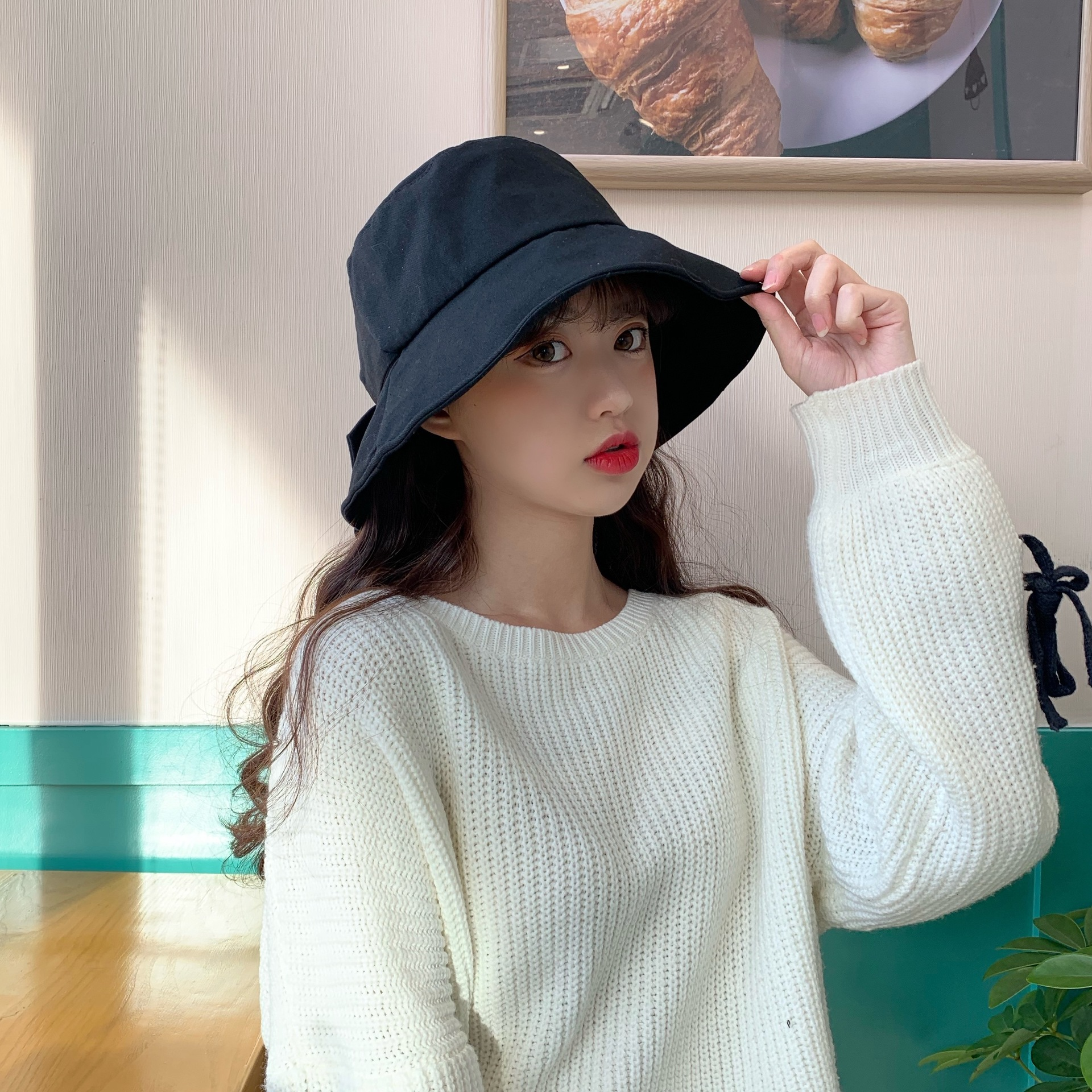 Spring and summer new hat bow big edging fisherman hat NHXB193692