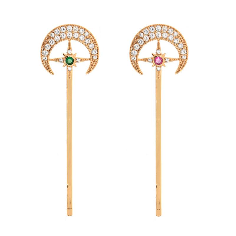 Fashion zircon diamond accessories sweet star moon hair clip simple side fringe clip NHQD198182