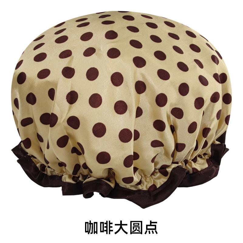 peva女士双层色丁浴帽 防水加厚帽 欧美印花浴室帽日用品批发定制